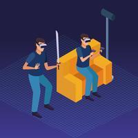 Pessoas brincando com realidade virtual vetor