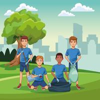 Voluntários de limpeza do parque vetor
