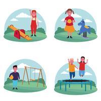 conjunto de crianças no parque infantil vetor