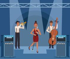 Banda de música dos desenhos animados vetor