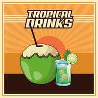 cartaz tropical do cocktail vetor