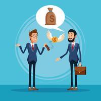 Empresários falando sobre cartoon de negócios vetor