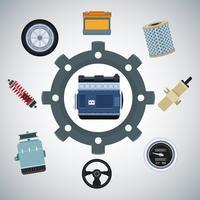 Fábrica de automóveis e peças vetor