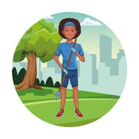 Desenho de garota voluntária de limpeza do parque