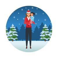 feliz natal no inverno vetor