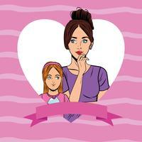 Desenhos animados do cartão da mãe e do daugther do pop art vetor