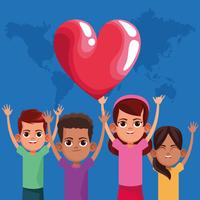 Lindos filhos sorrindo com os braços para cima vetor