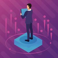 Realidade virtual e desenhos de amigos vetor