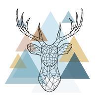 Ilustração geométrica de renas.