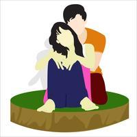 Lindo casal fofo vetor