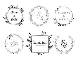 Design minimalista de grinalda floral de convite de casamento