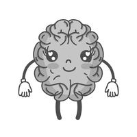 grayscale kawaii bonito feliz cérebro com braços e pernas vetor