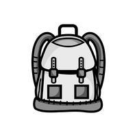 objeto de mochila em tons de cinza com bolsos e fechamentos de design vetor