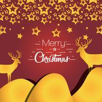feliz natal estrelas com decoração de renas vetor