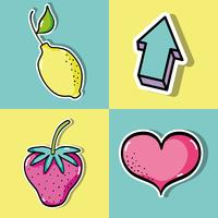 conjunto de design tropical frutas patches vetor