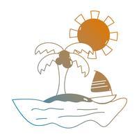 praia de verão linha e paraíso tropical vetor