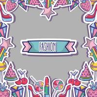 design de moda backgroun moda patches vetor