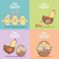 Coleção de cartões de Páscoa feliz