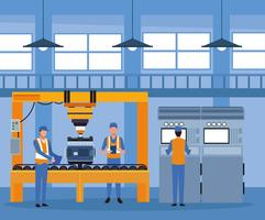 Trabalhador na fábrica de automóveis vetor