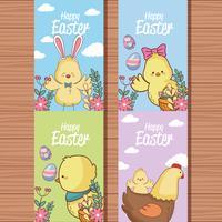 Coleção de cartão de Páscoa feliz