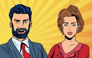 Casal de negócios de arte pop