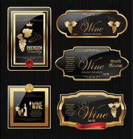 Coleção de rótulo de vinho dourado vetor