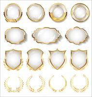 Coleção de distintivo de ouro e branco e rótulos