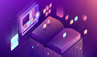 Vector ilustração gradiente isométrica apresentação de negócios slide pesquisa livro gráfico infográfico projeto aprendizagem estudo educação trabalho exibir informação tecnologia treinamento tela venda publicidade