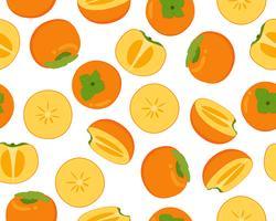 Padrão sem emenda de frutas frescas caqui isolado no fundo branco vetor