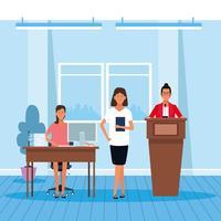 Colega de trabalho em uma conferência