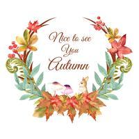 Quadro da grinalda da estação do outono com folhas e animal. Cartões de outono saudações perfeitos para impressão, convite, modelo, design criativo de ilustração vetorial aquarela vetor