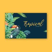 Verão de design de fronteira quadro tropical com plantas folhagem design de modelo de ilustração vetorial aquarela exótica, criativa