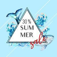 Férias de publicidade de verão. promova no disconto da venda. tempo de compras de férias, design criativo de ilustração vetorial aquarela