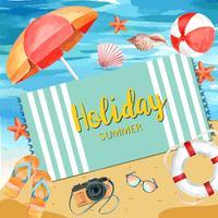 Viajar de férias de verão a praia Férias de palmeira, mar e céu luz solar, design criativo de ilustração vetorial aquarela