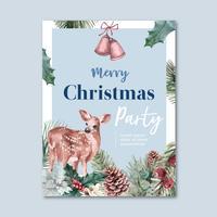 Cartaz de florescência floral de inverno, cartão postal elegante para decoração vintage bonito, criativo ilustração em aquarela vector design