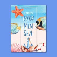 Viagem de férias de verão a praia Cartaz de férias de palma árvore, mar e céu luz solar, design criativo de ilustração vetorial aquarela