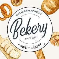 Modelo de padaria símbolo logotipo. Coleção de pão e pão. feito em casa, design criativo da ilustração do vetor da aguarela