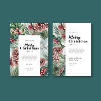 Inverno floral desabrochando elegante cartão de convite de casamento para decoração vintage bonito, criativo design de ilustração vetorial aquarela