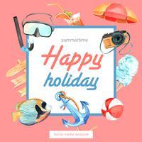 Viajar de férias de verão a praia Grinalda de quadro de férias de palmeira, mar e céu luz solar, design criativo de ilustração vetorial de aquarela