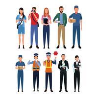 Conjunto de empregos e ocupação vetor