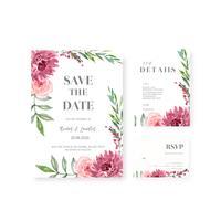 União floral feliz do cartão do convite do jardim do cartão de casamento, detalhe do rsvp. ornamento vintage de layout espaço bonito, vector design de coleção de modelo de ilustração em aquarela