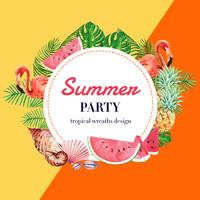 Férias de publicidade de verão. promova no disconto da venda. tempo de compras de férias, design criativo de ilustração vetorial aquarela vetor