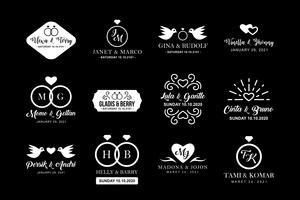 Logotipo de casamento e crachá, bom para impressão vetor