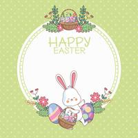 Feliz Páscoa round frame com desenhos animados