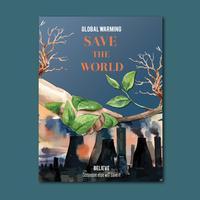 Aquecimento Global e Poluição. Cartaz panfleto folheto campanha publicitária, salvar o design de modelo do mundo, design criativo de ilustração vetorial aquarela