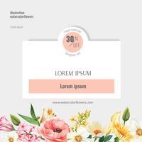 Quadro de mídia social de primavera flores frescas, cartão de decoração com jardim colorido floral, casamento, convite, design de ilustração vetorial aquarela vetor