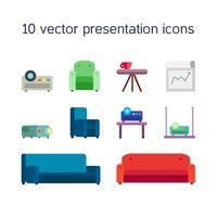 Ícones de apresentação com projetor e assentos confortáveis