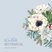 Buquê de inverno para decoração de quadro de fronteira decoração design de ilustração vetorial de aquarela bonito, criativo vetor