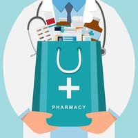 fundo de farmácia com médico segurando um saco de medicamento vetor