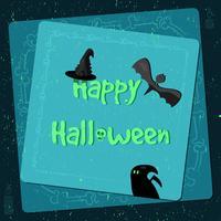Cartaz de Halloween, bandeira brilhante, cartão no estilo grunge